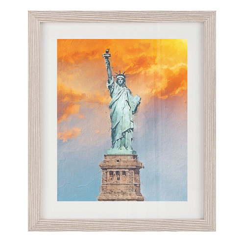 Statue of Liberty with Orange and Blue Sky - Grey Wood Framed Print
