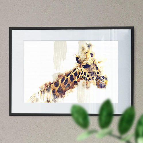 Watercolour Image of a Majestic Giraffe with Beige Background Wall Art Print