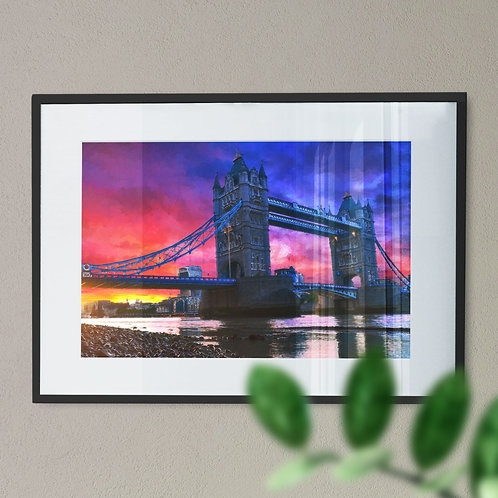 A Print of Tower Bridge at Night with Red and Blue Sky Wall Art Print