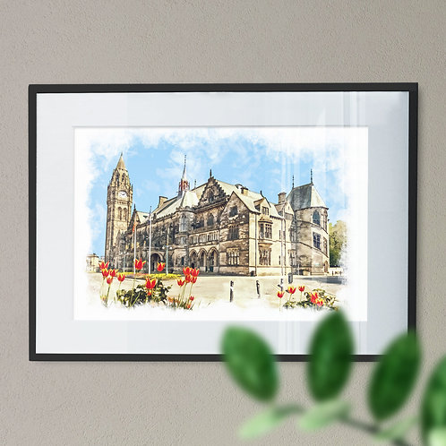 Rochdale Town Hall Wall Art Print Oil Painting Effect with Tulips