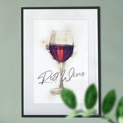 Red Wine Glass Digital Art Print