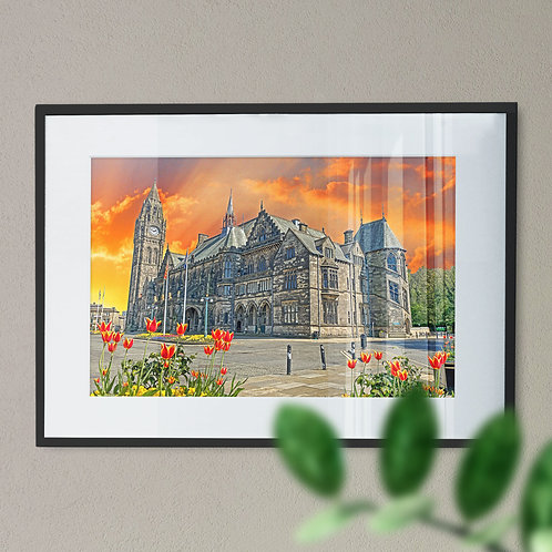 Wall Art Print of Rochdale Town Hall at Sunset Digital