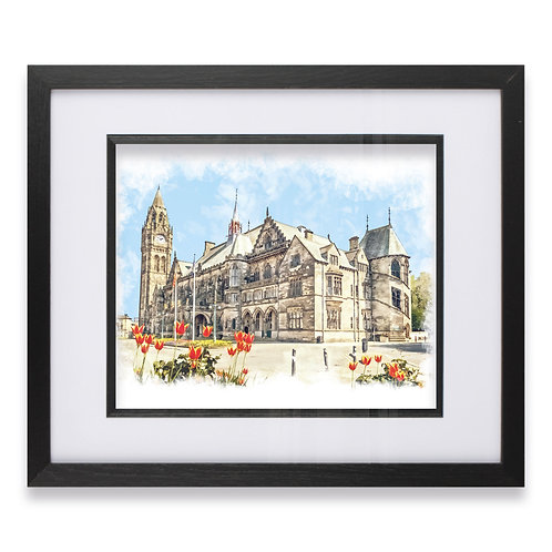 Rochdale Town Hall Wall Art Oil Painting Effect with Tulips Framed Print