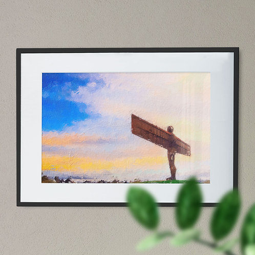 A Digital Wall Art Print of The Angel of The North Rough Brush Blue Sky