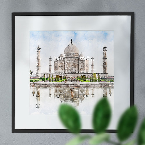 Pen and Watercolour of the Taj Mahal Wall Art Print