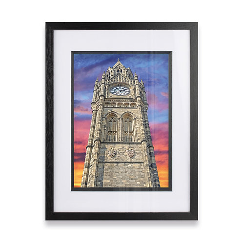 Rochdale Town Hall Clock Tower on a Colourful Sky Framed Prints