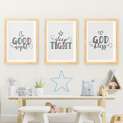 A Set of 3 Prints - Good Night, Sleep Tight, God Bless -Wall Art Print