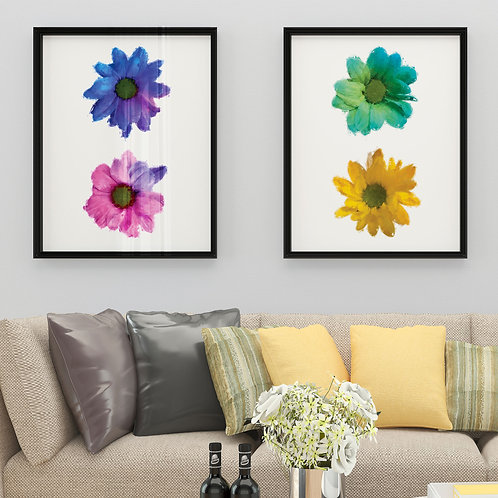 Set of 2 Wall Art Prints of Coloured Flowers in Oil Painting Effect