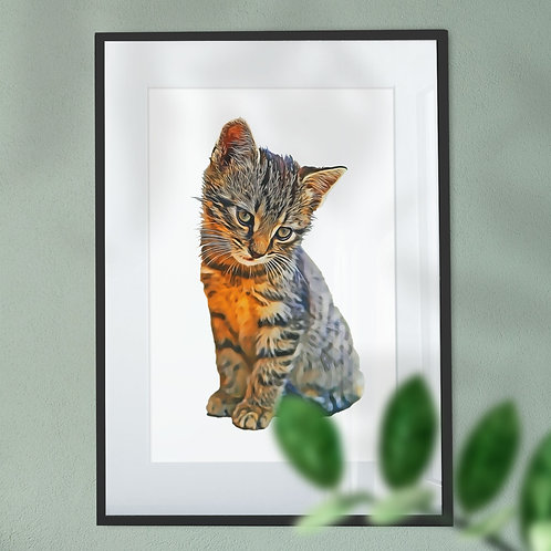 Gorgeous Kitten Digital Wall Art Print Oil Painting