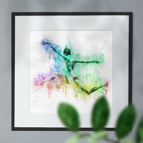 Digital Wall Art Print of Leaping Ballet Dancer Multicolour Paint Effect