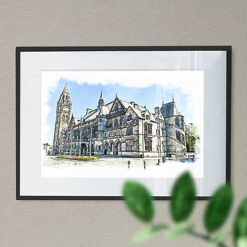 Rochdale Town Hall Wall Art Print - Oil Painting Effect With Keyline