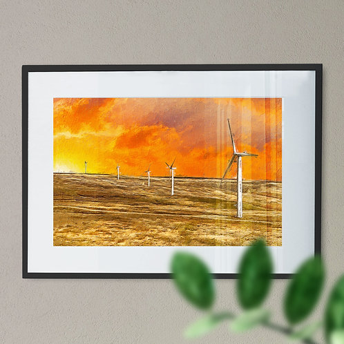 Scout Moor Wind Turbines Wall Art Print - Knoll Hill, Oil Painting Effect