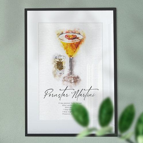 Wall Art Print Watercolour Abstract of a Pornstar Martini Cocktail & Recipe