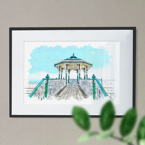 Pen and Watercolour Wall Art Print of Brighton Pavilion