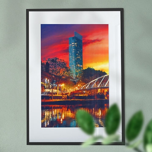 Beetham Tower Manchester with Orange Yellow and Blue Sky Wall Art Print