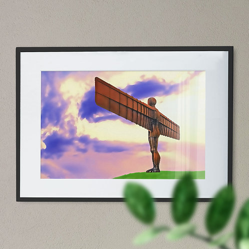 Digital Wall Art Print of The Angel of The North Light Purple Sky Back