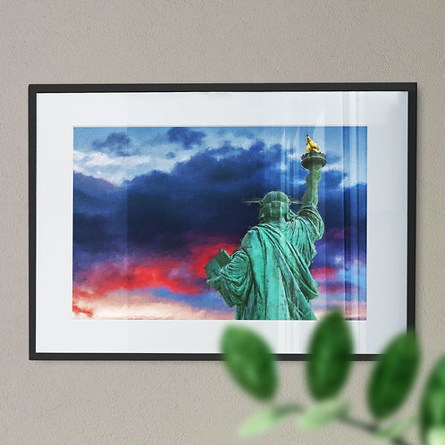 Wall Art Print Statue of Liberty with Red, White and Blue Sky - Rear View