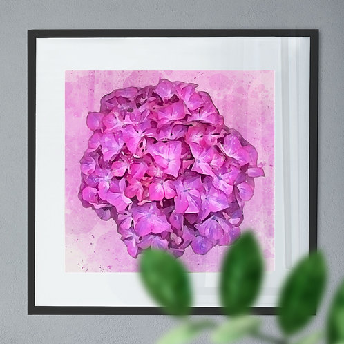 Abstract Watercolour Painting Wall Art Print of a Pink Hydrangea