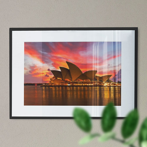 A Wall Art Print of Sydney Opera House with Pink and Blue Sky