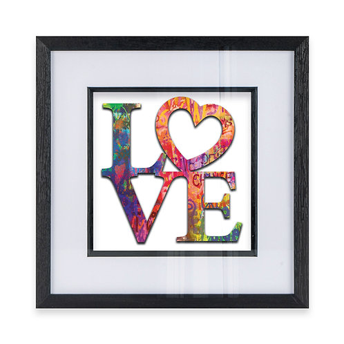 Multicoloured LOVE Typography with Heart Wall Art Print On Hearts Background