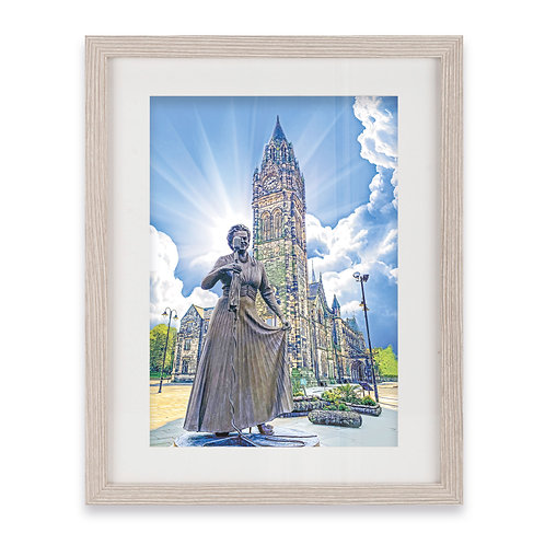 'Our Gracie' and Rochdale Town Hall Clock Tower - Grey Wood Framed Print