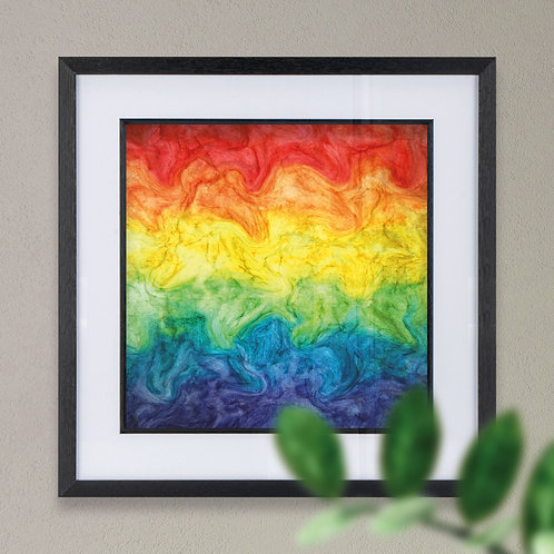 Framed Rainbow Liquid Effect Wall Art Print