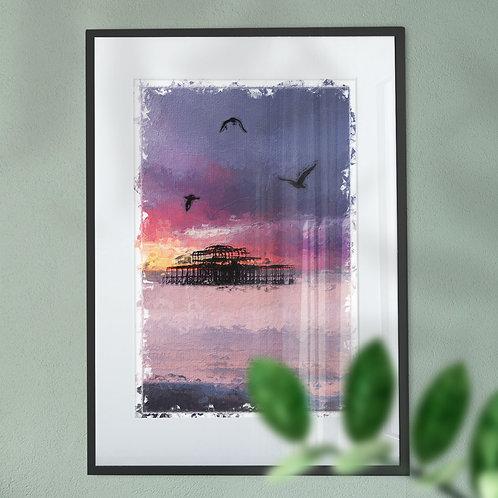Wall Art Print of Brighton Pier Seagulls