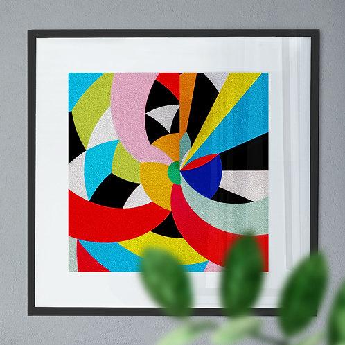 Multi-Coloured Swirl Abstract Wall Art Print