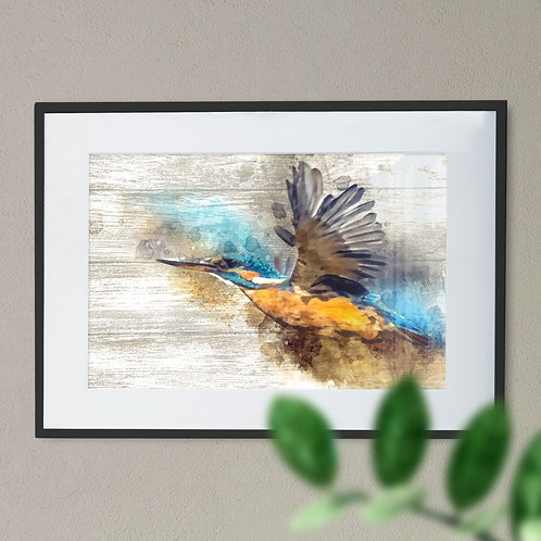 Watercolour Image of Kingfisher in Flight on Wood Effect Wall Art Print