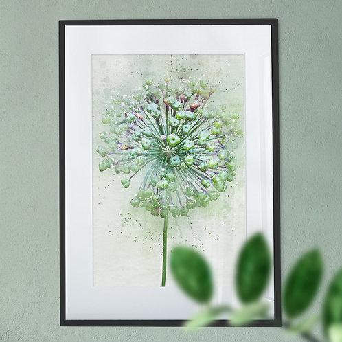 Watercolour Splash Abstract Allium Digital Wall Art Print