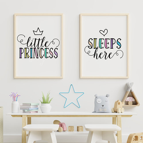 A Set of 2 Prints  - Little Princess Sleeps Here Digital Wall Art Print