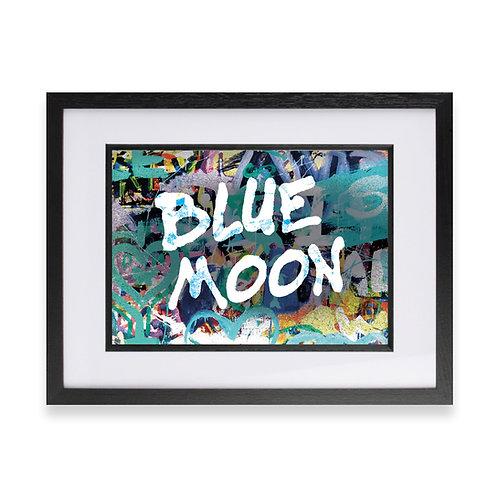 'Blue Moon' Digital Graffiti Word Art