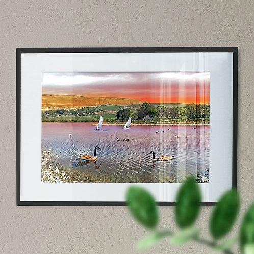 Ducks at Hollingworth Lake Wall Art Print- Littleborough Rochdale Digital Effect