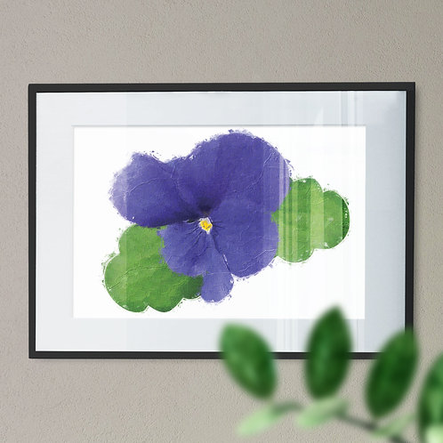 Pretty Purple PansyWall Art Print  Oil Painting Effect