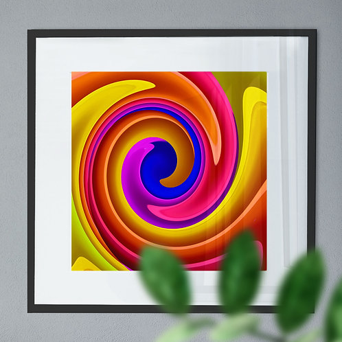 Digital Abstract Wall Art Print of Yellow, Red & Blue Spiral