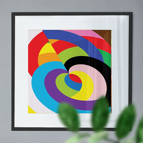 Abstract Wall Art Print of Coloured Curves
