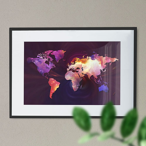 Multi Coloured Map of the World Wall Art Print