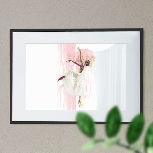 Watercolor Image of Ballerina In White Tulle Skirt on Pointe Wall Art Print