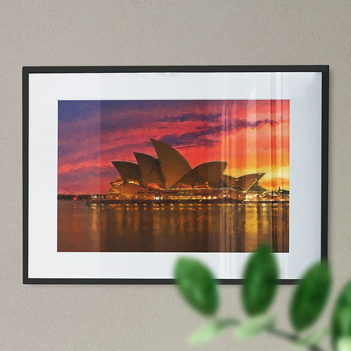 A Wall Art Print of Sydney Opera House with Pink, Purple and Yellow Sky