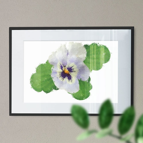 Wall Art Print of a Lilac Pansy with an Oil Paiting Effect