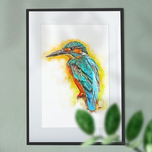Kingfisher Oil Painting Digital Wall Art Print