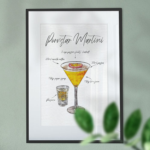 Wall Art Print - Watercolour of a Pornstar Martini Cocktail & Ingredients