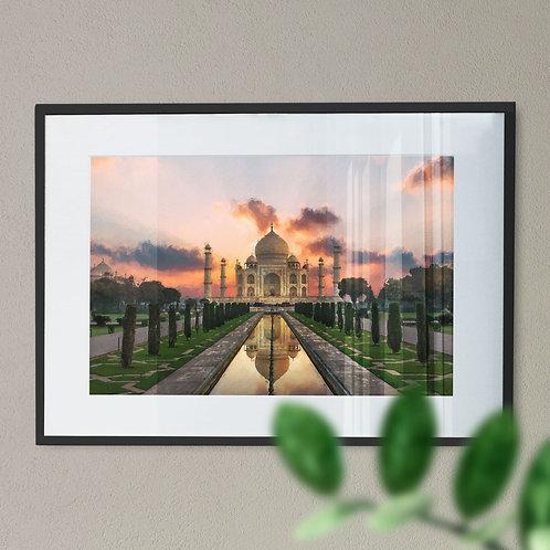 Taj Mahal at Sunset Wall Art Print
