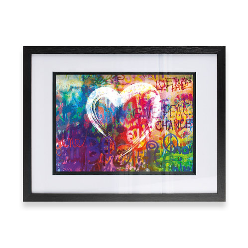 Abstract Love Heart on Multicoloured background Wall Art Print, Ideal  Gift
