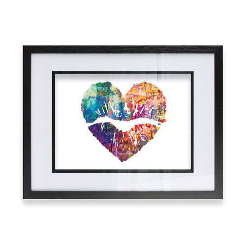 Multicoloured Love Heart Lips In a Graffiti Effect, Ideal  Gift for him or her