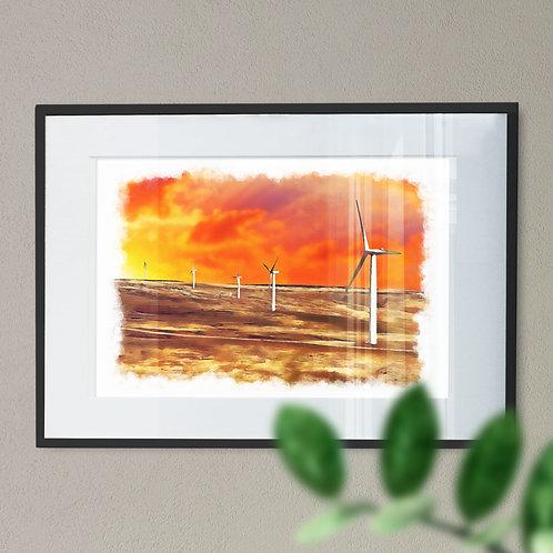 Scout Moor Wind Turbines Wall Art Print - Near Noel Hill,  Oil Painting Effect