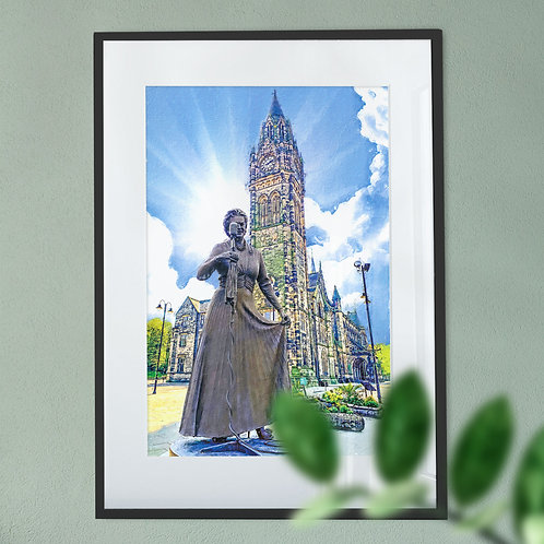 Gracie Fields and Rochdale Town Hall Wall Art Print - Blue Sky Oil Painting