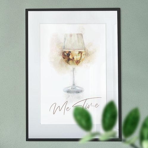 White Wine 'Me Time' Digital Wall Art Print