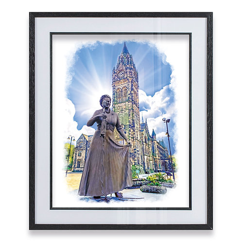 Gracie Fields and Rochdale Clock Tower on a Blue Sky Wall Art Oil - Framed Print