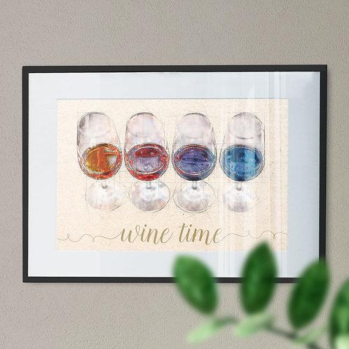 'Wine Time' - Digital Wall Art Print